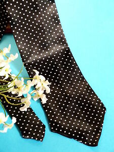 """183# Superbe Cravate TrÈs Classe """" Mille Points """" Soie Noire Point Blanc Vintage"""