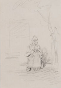 J.DIELMANN(1809-1885), Bäuerin mit Kleinkind, vermutlich aus dem Taunus, Zchng