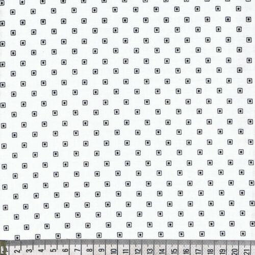 noir tissu Makower square patchwork blanc Carré 20x112cm BASIC décoration