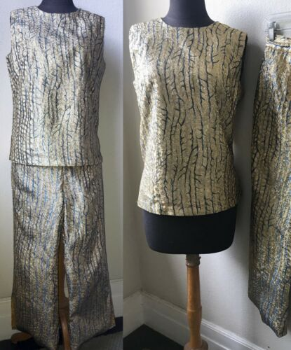 60's Vtg. Sparkly and Chic Mod Gold Brocade 2pc. H