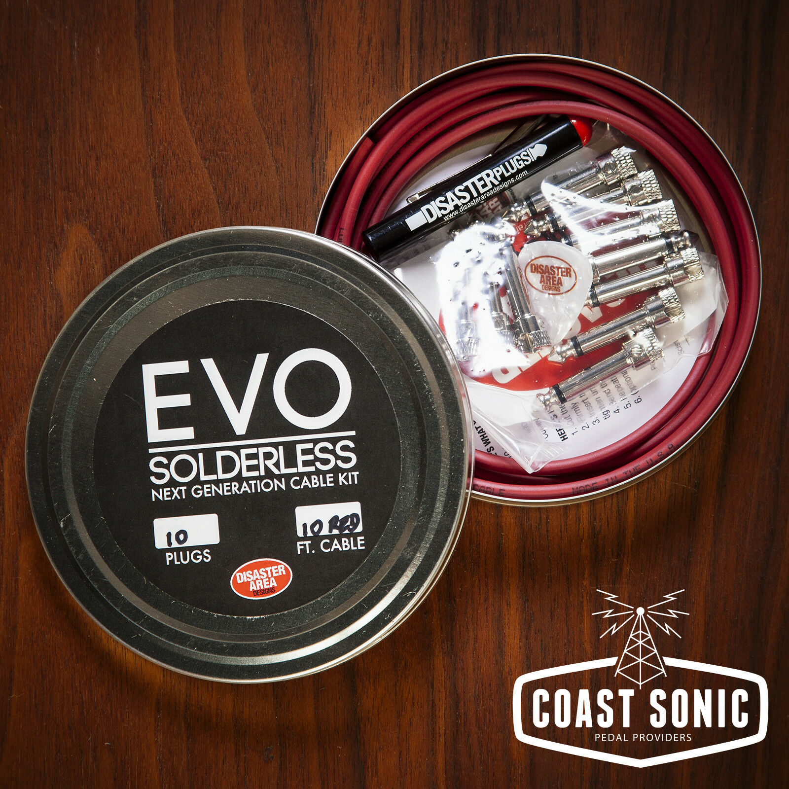 Disaster Area EVO Solderless Cable Kit 10 plugs (rot)