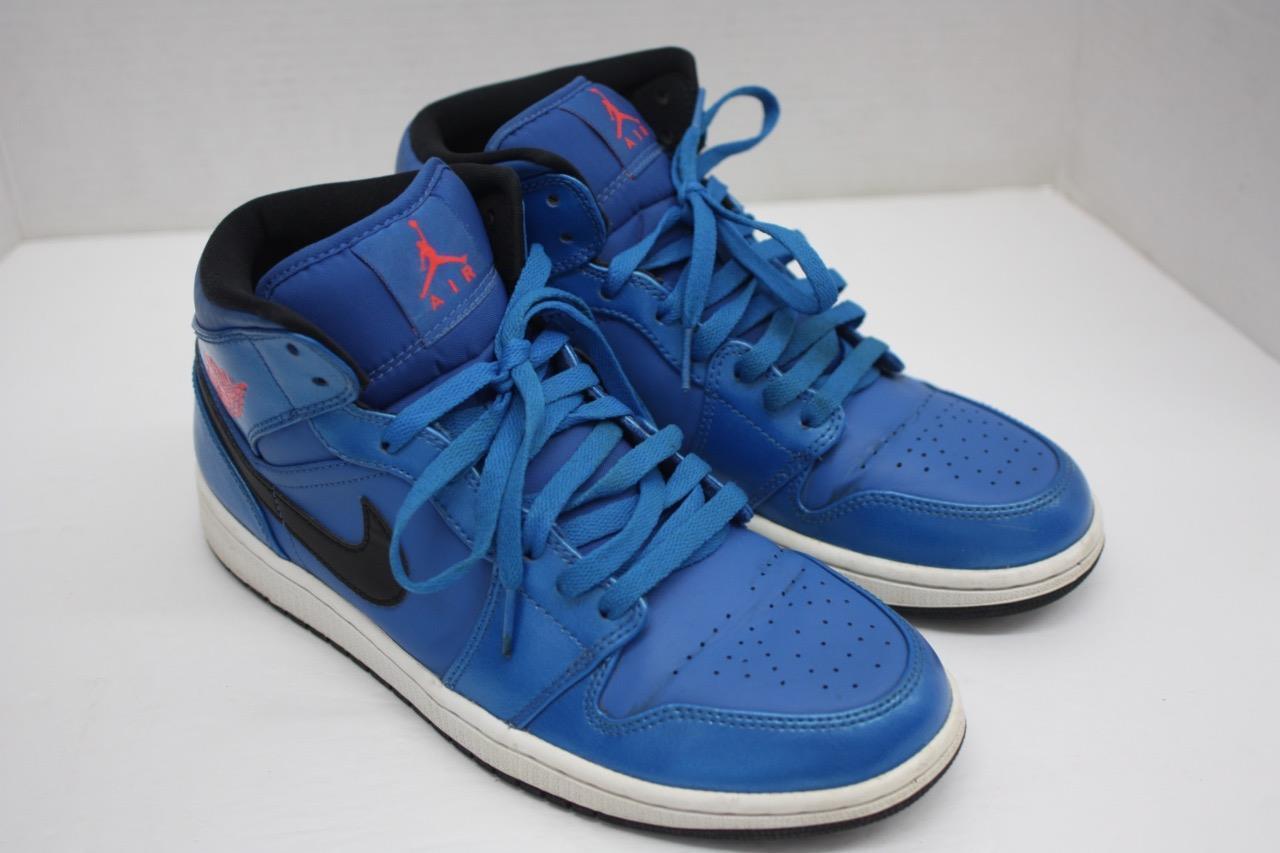 Nike Air Jordan 1 Mid Mens 554724-423 Sport Blue Basketball Shoes Size 9.5