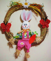 Easter Wreath.straw Wreath Decoration W/bunny & Butterflies Etc.approx 12''x12''