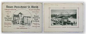 Prospekt-Neues-Post-Hotel-St-Moritz-um-1910-Landeskunde-Ortskunde-Geographie-xy