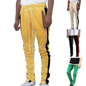 Mens-039-Casual-Pants-Sweatpants-Fitness-Gym-Joggers-Slim-Fit-Stripe-Side-Trousers