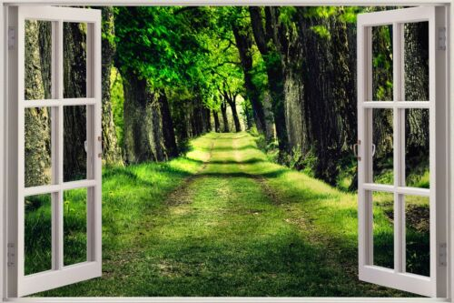 Cheap 3D Window view Beautiful Green Forest Wall Sticker Art Decal 414