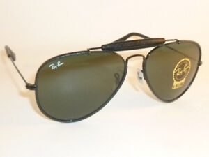 New RAY BAN Aviator Outdoorsman Black Leather RB 3422Q 9040 G-15 ... e6180e73f2