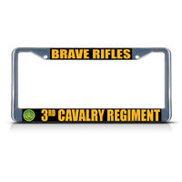 Brave Rifles 3rd Cavalry Regiment Army Metal License Plate Frame Tag Border