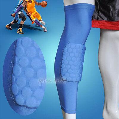 Honeycomb Pad Crashproof Antislip Basketball Leg Knee Long Sleeve Light Blue