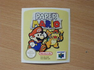Details about Nintendo 64 Paper Mario Replacement Label Decal Sticker  Cartridge precut
