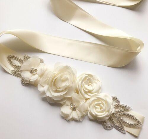Women Bride Crystal Rhinestone Flower Chiffon Waist Sash Belt Waistband Band
