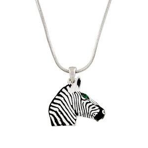 Enamel Painted White Crystal Rhinestones LJH Stripe Zebra Zoo Pendant Necklace