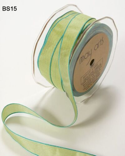 """BS15-5 Yards 5//8/"""" Solid Iridescent  Ribbon Lt Green//Turquoise"""