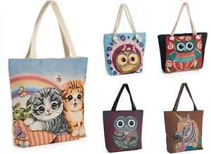 Large Reusable Shopping Bags Womens Ladies Animal Bird Travel Tote Shoulder Bag