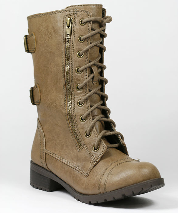 Taupe Brown Faux Leather w Zipper Buckle Lace Up Military Combat Mid Calf Boot