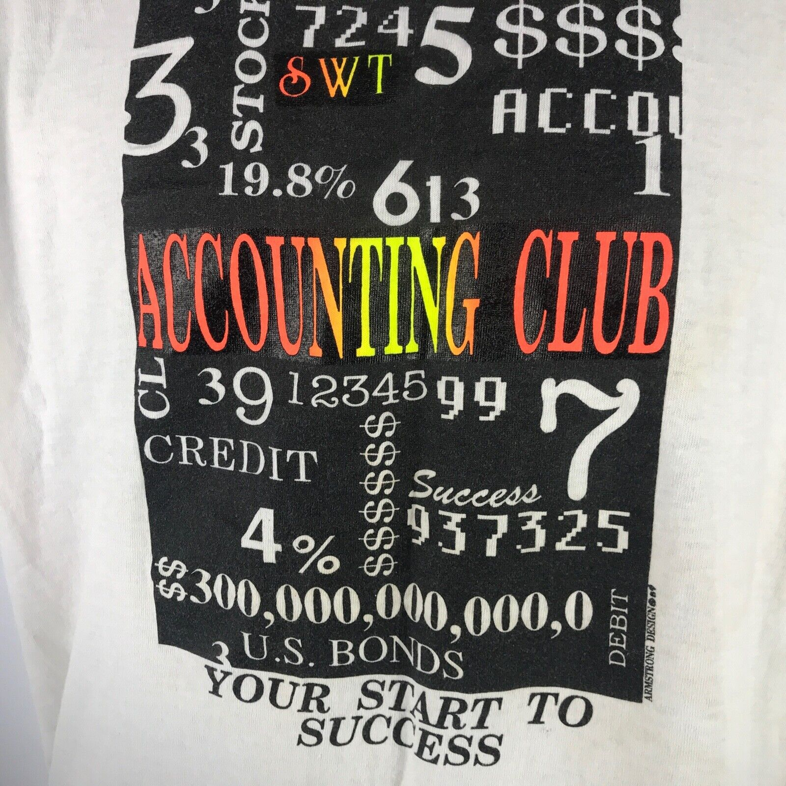 Vintage SWT Accounting Club T Shirt SZ L Southwest Texas Bobcats San Marcos '89
