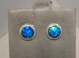 f0c57e132 Natural Neon Blue Opal Diamond Stud Earrings 14k White gold round | eBay