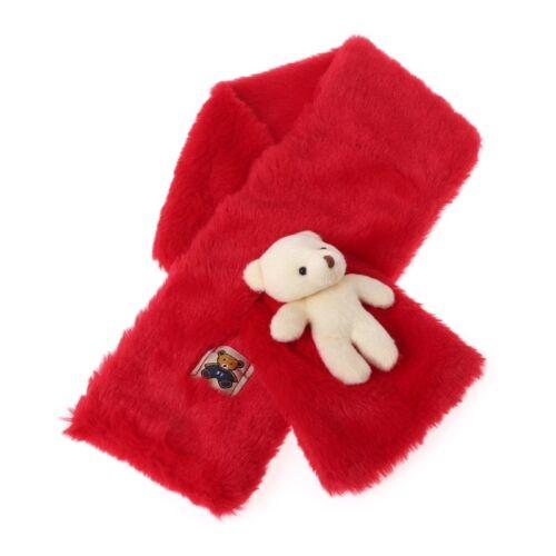 Fashion Faux Fur Children Scarves Cute Bear Winter Warm Soft Shawl Wrap For Kids