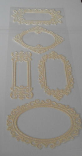 Set 2 Cream Glitter Foam Frame Stickers 30cm x 12cm for cards and crafts