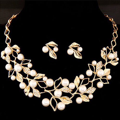 Fashion Faux Pearl Rhinestone Branch Necklace and Earrings Set Women's Jewelry