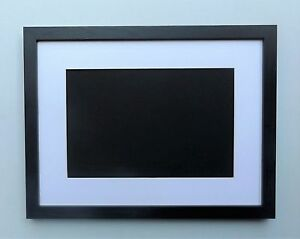 Deep-Black-Woodgrain-Finish-Photo-Picture-Frame-with-Mount-Various-Sizes