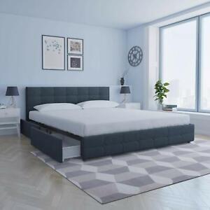 Details About Blue Linen King Size Storage Platform Bed Frame With 4 Drawer Tufted Headboard