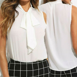 Fashion-Women-Bow-Tie-V-Neck-Chiffon-Shirt-Career-Office-Work-Casual-Blouse-Tops