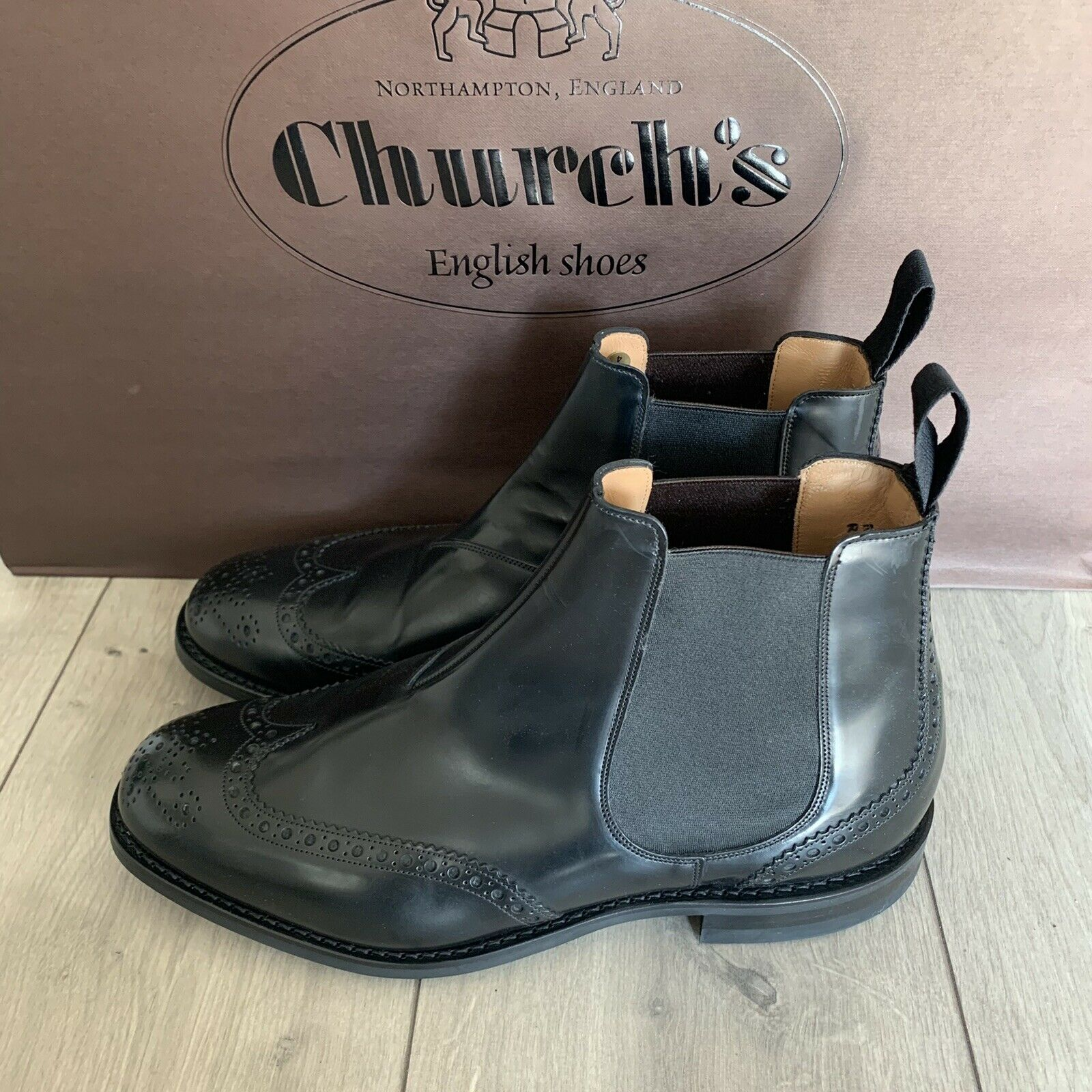 Church's Chelsea Boots RAVENFIELD black calf Leather Size 10G UK Wide Fit