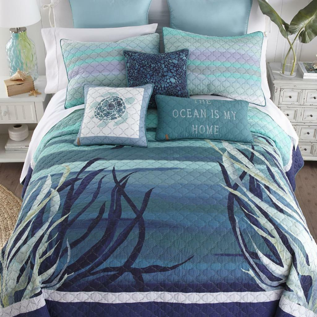 damen Sharp Summer Surf Quilted Coastal Nautical Navy Aqua Twin 2-Pc Quilt Set