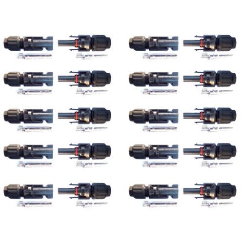 10 Paare MC4 Solarstecker Stecker 1.5-6 mm² Wasserdicht Kabel Buchse Kupplung
