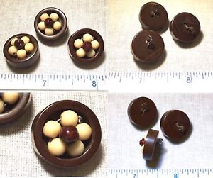 Antique Vintage Set Of Three 3/4 Inch BAKELITE Sewing Buttons UNUSUAL AVB208