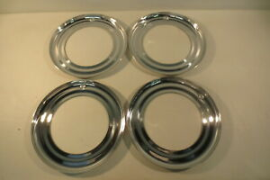"""Vintage NOS 15"""" Beauty Rings Hubcaps 1940's Chevy Ford Chrysler Mopar Accessory"""