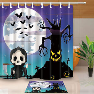 Image Is Loading Halloween Shower Curtain Set Horror Tree And Bat
