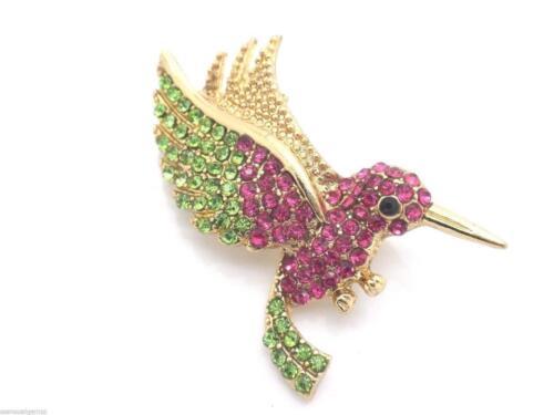 New Hummingbird Crystal Pin Brooch Women Gold Plated w Austrian Crystals New