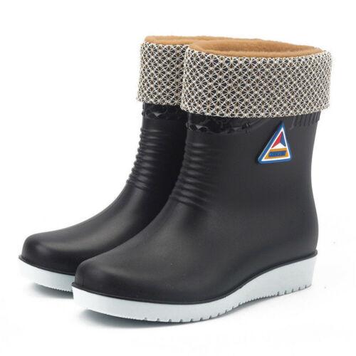 Womens Ladies Winter Rain Chelsea Ankle Wellies Wellington Boots Fur Lined Shoes