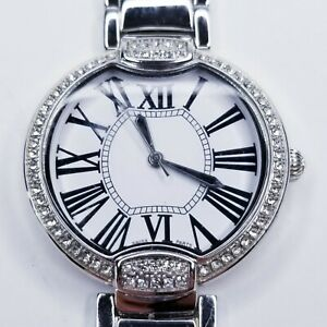 Bronzo-Italia-Pave-039-Crystal-Bezel-Panther-Link-Watch-Silver-Tone-Needs-Battery