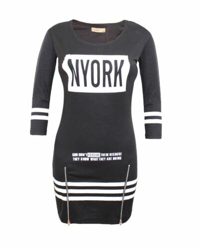 Ladies Women Nyork Motif Zip Stretchable Stripe Tunic Short Black Dress Top 8-14