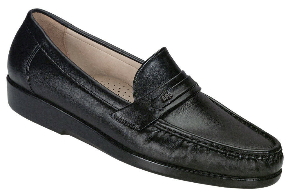 SAS Men's Ace Black Leather Loafer Dress shoes Wide Widths Available