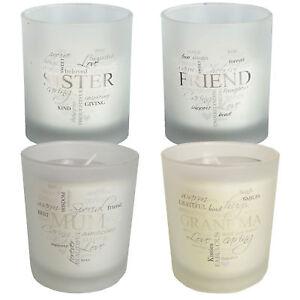 Details About Sentiment Glass Jar Fresh Cotton Scented Candle Silver Script Choose Design