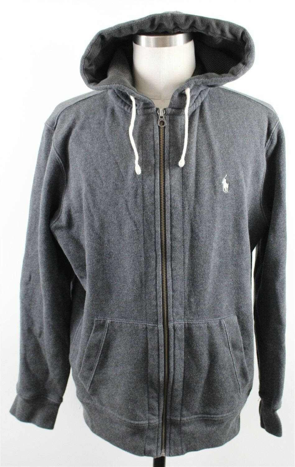 NEW Polo Ralph Lauren Full Zip Fleece Hoodie  Herren XL grau Cotton Polyester