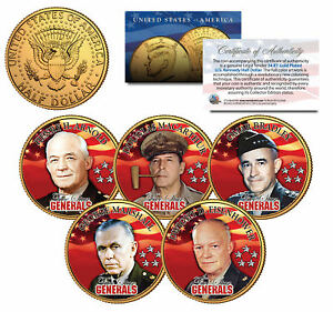 5-STAR-GENERALS-U-S-ARMY-Colorized-JFK-Half-Dollars-5-Coin-Set-24K-Gold-Plated