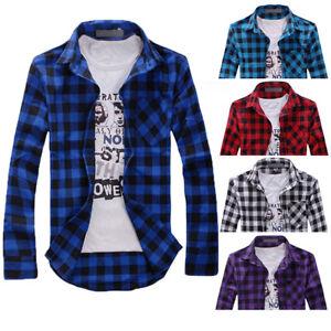 f4266d0fb00b Details about Men s Long Sleeve Casual Check Print Cotton Flannel Plaid  Shirt Tops T-shirt