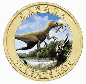 Canada-2010-3D-Moving-Lenticular-50-Cent-Coin-Dinosaur-Exhibits-Sinosauropteryx
