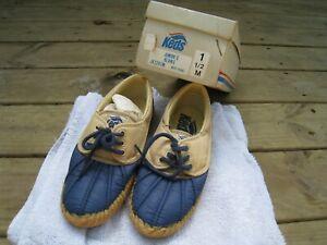 vintage KEDS kids unisex shoes NOS New Junior's BEANIE JK2243M 1.5M navy/khaki