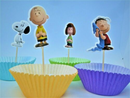 Peanuts Charlie Brown And Friends Cupcake//Food Picks Party Decoration Set Of 24