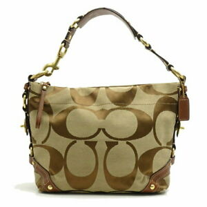 Authentic-COACH-Carly-One-Shoulder-Bag-10619-Signature-Brown-053588-FREE-SHIP