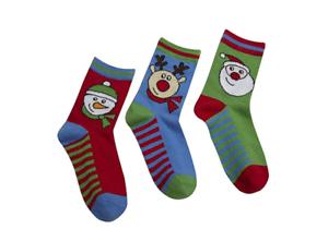 Boys Christmas Design Socks Boy Xmas Novelty Cotton Rich Socks 3 Pack New