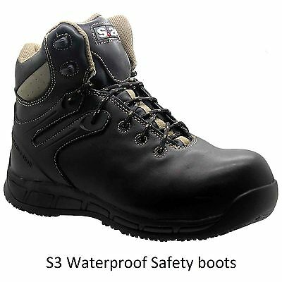 MENS LEATHER SAFETY LIGHT WEIGHT S3 WORK BOOTS COMPOSITE TOE CAP SHOES TRAINERS