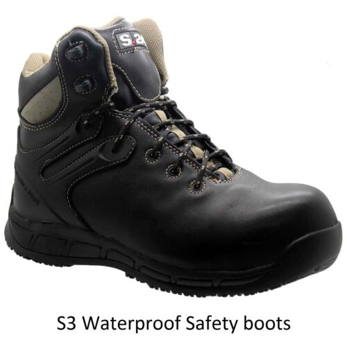 Work Size Uomo S3 Leather stivali nero Safety Toe S24 Lightweight Waterproof Cap scarpe P8TPqRw