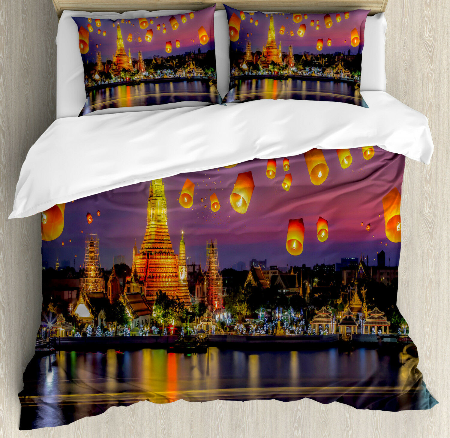 Lantern Duvet Cover Set with Pillow Shams Wet Arun Temple Print